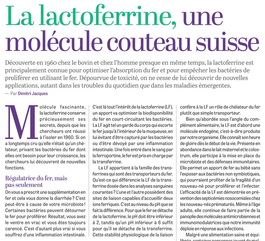 Trois pages pleines consacrées à la lactoferrine dans l'édition papier d'octobre 2021